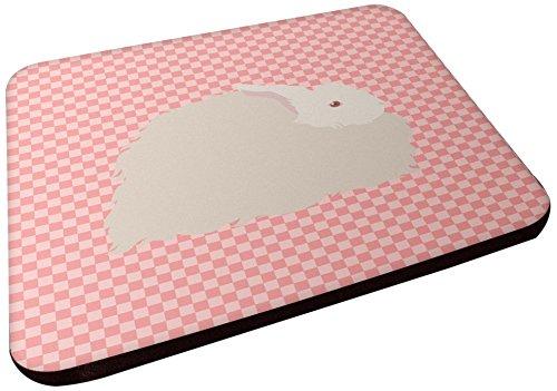 Carolines Treasures BB7959FC flauschiger Angora-Hase, rosa kariert, dekorative Untersetzer, 8,9 cm, mehrfarbig