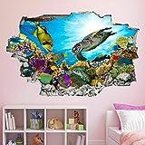 Etiqueta De La Pared 3D Pegatinas de arte de pared bajo el agua, calcomanía mural, pez marino, acuario, dormitorio para niños BZ45 Murales De Vinilo 50x70cm