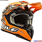 Wulf Casco Moto Arancione Flite XTRA ECE Omologato MX Quad Bambino Fuoristrada Supercross Bike