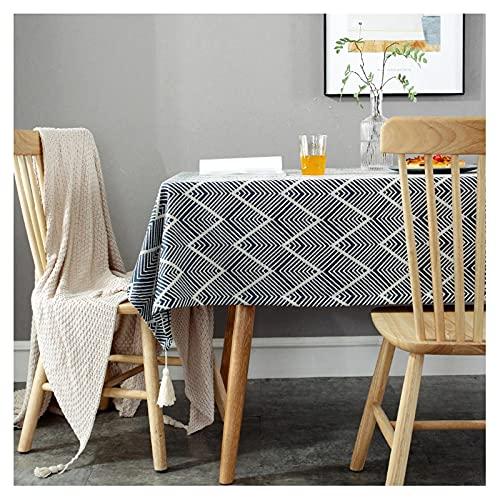 テーブルクロスシンプルな波パターンテーブルクロスコットンリネンの長方形のテーブルクロスエレガントなしわ抵抗テーブルカバーキッチンダイニング、パーティー、休日、クリスマス、ビュッフェ用食卓カバー(Color:Blue,Size:130*180cm)