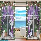 Emoya Vorhang für Fenster Katze Kakteen Vögel Voile transparent Gardinen mit Stangentasche Schlafzimmer Wohnzimmer Decor 2 Panels 139,7 x 198 cm, Textil, Multi, 2 x 55 W x 84' L (140cm x...