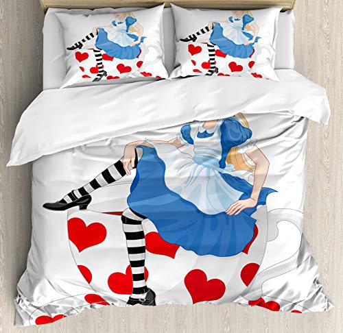 Alice in Wonderland Double Bedding Duvet Cover 3 Piece, Girl Sitting on a Tea Cup Heart Shape Character Fantasy Tale, Soft Bedding Protects Comforter with 1 Comforter Cover 2 Pillow Case, Blue White