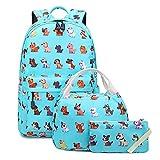 Abshoo Lightweight Cute Dog Backpacks For School Kids Boys Girls Backpack With Lunch Bag (Set Dog Teal)