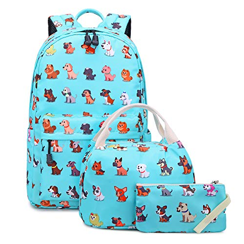 Abshoo Lightweight Cute Dog Backpacks For School Kids Boys Girls Backpack With Lunch Bag (Set Dog Teal)