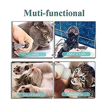 hyua Sac de toilettage pour chat - Anti-morsure et anti-rayures - Filet de bain réglable multifonction et respirant - Pour le bain, la coupe des ongles, le toilettage - Gris