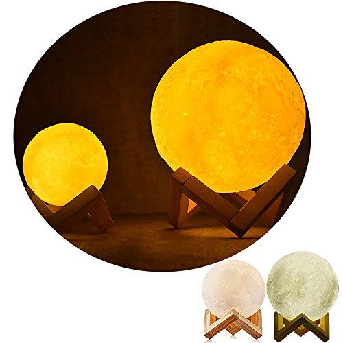 3D Lampada Luna LED Moon Lampada, LB Trading Luci decorative da negozio USB ricaricabili con supporto per regalo di compleanno 8CM/15CM (8 cm/3.1 in)