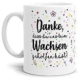 Tassendruck Erzieher-Tasse mit Spruch Danke, DASS du Uns beim Wachsen geholfen hast - Kindergarten/Abschied/Geschenk-Idee/Dankeschön/Kita/Weiß