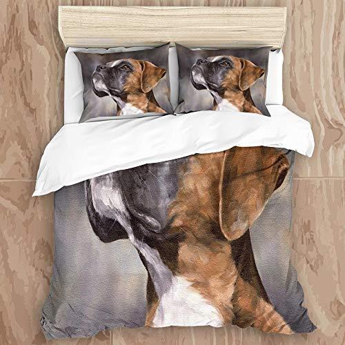 HARXISE Ropa de Cama - Juego de Funda nórdica Mantener Caliente,Boxer Perro Mascota Retrato Artista canino Mascota doméstica Animal Naturaleza mamífero240 x 260cm