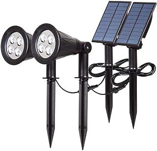 T-SUN Outdoor 4 LED Solar Lights, Waterproof Landscape Spotlight, Dark Sensing Auto On/Off, 180° Adjustable Security Night...