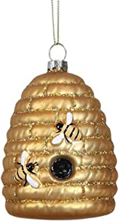 Creative Co-op Beehive Skep Hand-Painted Glass Hanging Ornament