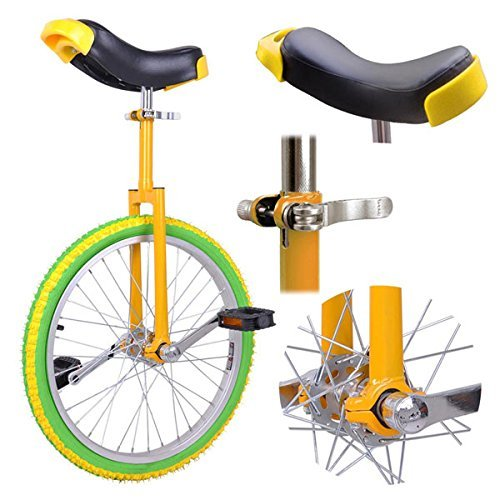 Amazing Deal 18 Inches Wheel Skid Proof Tread Pattern Unicycle Bike Cycling Uni-Cycle Green Yellow