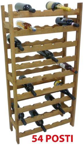 Mobile porta bottiglie cantinetta vino in legno noce marrone 54 posti per enoteca bar casa cucina ripostiglio