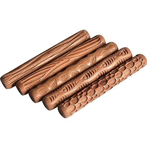 TANOU 5 StüCke T?Pfer Werkzeuge Holz Hand Rollen für Ton Ton Stempel Ton Muster Roller