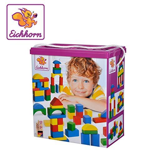 Eichhorn 100010181 150 bunte Holzbausteine in Aufbewahrungsbox mit Sortierdeckel, FSC 100% zertifiziertes Buchenholz, hergestellt in Deutschland, Motorikspielzeug geeignet für Kinder ab 1 Jahr