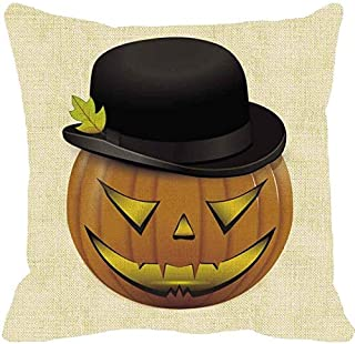 HomeMals Autumn Thanksgiving Pillow Covers Square Halloween Cotton Linen Throw Pillow Covers for Car Sofa Bed Couch