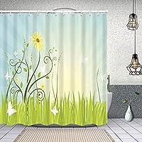シャワーカーテン春 防水 目隠し 速乾 高級 ポリエステル生地 遮像 浴室 バスカーテン お風呂カーテン 間仕切りリング付のシャワーカーテン 150 x 180cm