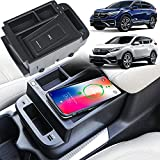 Braveking1 Cargador Inalámbrico Coche para 2017-2021 Honda CR-V/CRV Hybrid Todos Modelos, 15W Carga Rápida Teléfono de Caja de Almacenamiento de Inserción de la Consola Central Panel Honda Accesorios