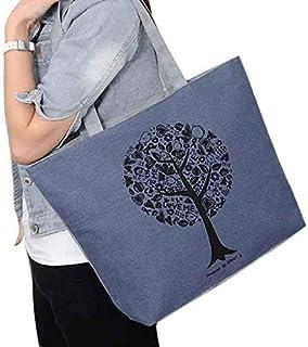 Wultia - 2019 Fashion Folding Women Big Size Handbag Tote Ladies Casual Flower Printing Canvas Graffiti Shoulder Bag Beach Bolsa Feminina Blue