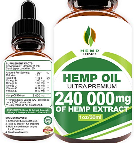 Hemp Oil Drops 240 000 mg, 100% Natural Extract, Anti-Anxiety and Anti-Stress, Natural Dietary Supplement, Rich in Omega 3&6 Fatty Acids for Skin...
