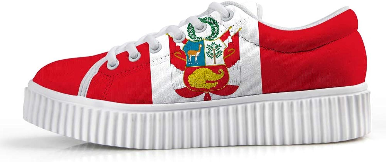 Owaheson Platform Lace up Sneaker Casual Chunky Walking shoes Low Top Women Peru Flag