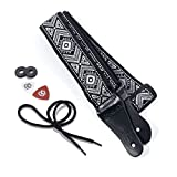 KLIQ Vintage Woven Guitar Strap for Acoustic and Electric Guitars + 2 Free Rubber Strap Locks, 2 Free Guitar Picks and 1 Free Lace | '60s Jacquard Weave Hootenanny Style | Diamond Gray