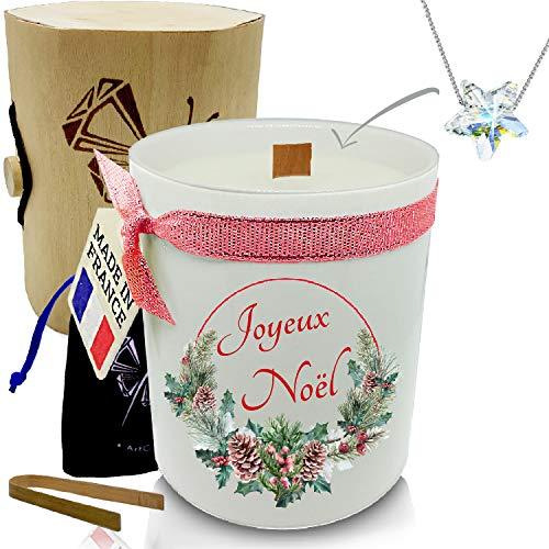 ArtGosse Vela con joya decorada con cristales de Swarovski® • 2 mechas de cera vegetal perfumada manzana de amor • Caja regalo fiesta de cumpleaños (edición navideña con colgante de estrella)