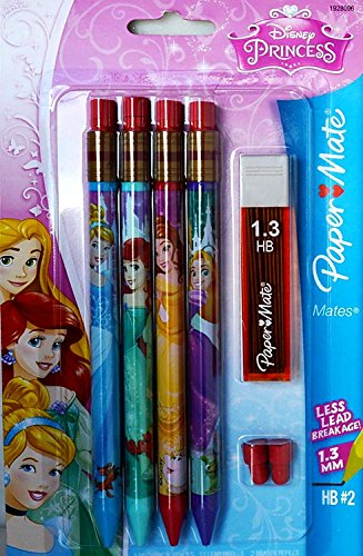 Paper Mate Disney Princess 4-Pack 1.3HB Mechanical Pencils W/extra lead and erasers