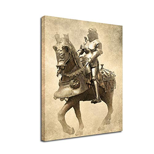 Armor knight Canvas Wall Art-Inner Framed Oil Paintings Printed on Canvas Modern Artwork for Home Decorations and Easy to Hang for Living Room Bedroom-Samurai,Cavalry,Soldier,Warrior Horse Riding Wall Art