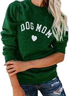 Womens CAT Dog MOM Heart Letter Print Long Sleeve Sweater Sweatshirt Blouse Tops