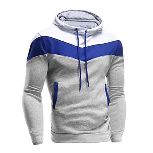 IMJONO Männer Retro Langarm-Kapuzenpullover mit Kapuze Sweatshirt Tops Jacke Mantel Outwear (EU-52/CN-3XL,Grau)