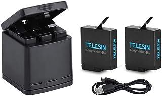 TELESIN Cargador Triple y Batería Kit Caja de Carga/Almacenamiento con 2 Baterías y USB Type-C Cable para GoPro Hero 2018 Hero 5 6 7 Black Action Cámara Accesorios