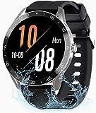 Smartwatch Reloj Inteligente Hombre, 1.3inch Pantalla Táctil Completa Relojes Deportivos, Monitor Ritmo Cardíaco y Sueño, Podómetro, 5 ATM Impermeable Pulsera Actividad Inteligente para Android iOS