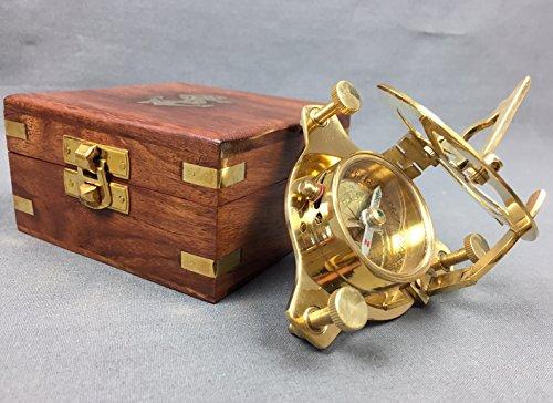 Kompass Messing 7,5 cm mit Sonnenuhr und Holzbox