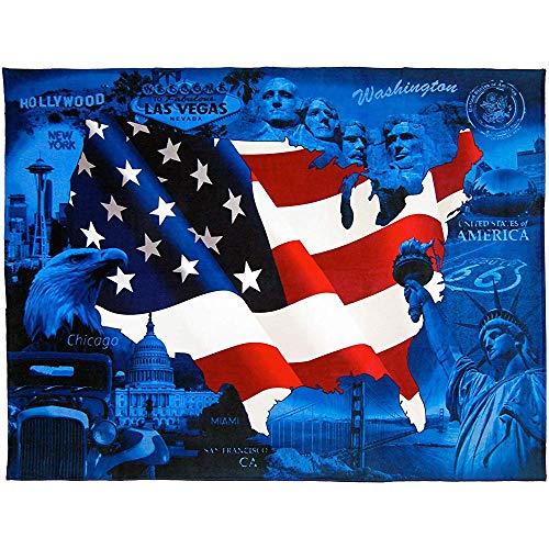 Abel Berth Toalla de Playa con Bandera Estadounidense Extra Grande Patriot Velour Terry USA