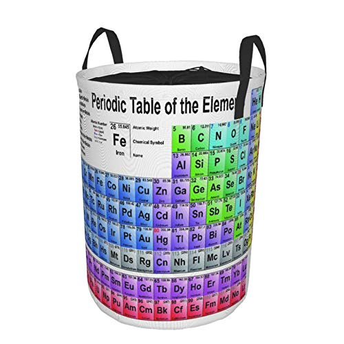Large Round Storage Basket with Handles,Modern Updated Version of The Periodic Table of The Elements,Waterproof Coating Organizer Bin Laundry Hamper for Nursery Clothes Toys 21.5'x 16.5'