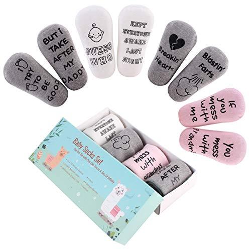 DaMohony Baby-Socken, Geschenkset, Unisex, für Neugeborene, lustige Sprüche, 4 Paar, Babyparty, Geschenk für 0-12 Monate