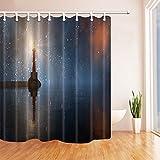 CDHBH 3d-Digital-Leuchtturm im Himmel Sterne Schimmel Wasserdicht Duschvorhang Polyester-Gewebe, Dekoration, mit Haken: 71x 71cm