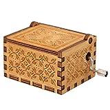 Silverbirdly Caja de música con manivela de madera, diseño de El Señor de los Anillos, mecanismo de 18 notas, caja de música tallada antigua, ideal para niños, regalos de amigos