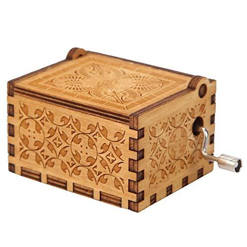 Silverbirdly Caja de música de Madera, diseño de manivela de El Señor de los Anillos, 18 Notas, Mecanismo Antiguo, Caja de música para tallar es Mejor para niños, Regalos de Amigos