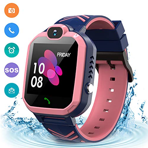 Kids Waterproof Smart Watch Phone, GPS/LBS Tracker Smart Watch for Kids for 3-12 Year Old Compatible iOS Android Smart Watch Christmas Birthday Gifts for Kids
