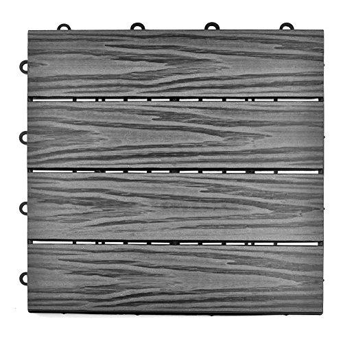 SIENOC Terrassen-Fliese aus WPC Kunststoff, Einzelfliese, Garten-Fliese,Balkon Bodenbelag mit Drainage Unterkonstruktion (30x30 cm, Grau Streifen Prägeplatten)