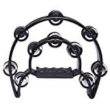 Luvay 9' Double Row Tambourine - Metal Jingles Hand Held Percussion, Cutaway Design (Black)