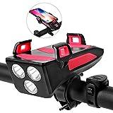 Lixada Luz Bicicleta Multifuncional 4 en 1 250 Lúmenes 3 Modos de Iluminación Impermeable USB Recargable con Soporte para Teléfono y Bocina Bicicleta