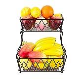 Yarrie Obstschale Metall, Obst Etagere 2 stöckig , Metallkorb schwarz zur küche aufbewahrung/Obstkörbe, Obstkorb, kann als Bananenhalter/Gewürzregale für küchenschrank