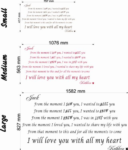 When I saw you, I wanted to meet you.....I will love you with all my heart - Wall Quote (Medium) by Wondrous Wall Art