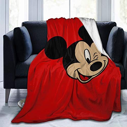 VOROY Dis-Ne-Y Mic-Key Mouse Manta de forro polar de franela suave y esponjosa, cálida y ligera, para sofá de cama, aire acondicionado, manta para sala de estar, 201 x 152 cm