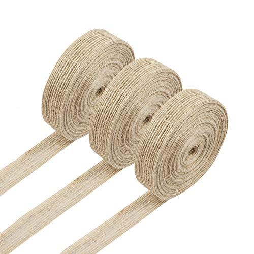 Cinta de yute, 3 rollos de cinta de arpillera natural para manualidades, bodas, eventos, fiestas y decoración del hogar, 10 m de largo, 2 cm de ancho, cada rollo