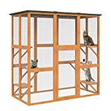 PawHut 71' x 39' x 71' Large Wooden Outdoor Cat...