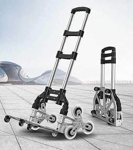 Yinleader Aluminium Treppensteiger Handwagen faltbarer Handwagen äußerst robust | extra langer Griff 106 cm | vier 360 ° Universalräder | Inklusive Einkaufsbox und Expanderseil