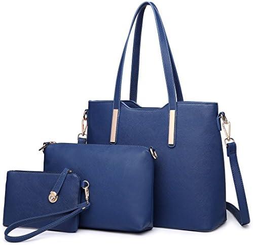 Women Fashion Handbag Shoulder Bag Purse Faux Leather Tote 3 Piece (Beige)